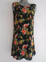 WAYF NEW Black Women's Size L Floral Print Open Back Shift Dress
