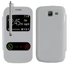 Housse Coque S View Case BLANC Samsung Galaxy Trend Lite Duos S7390 S7392 Stylet