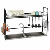 1-Tier Dish Drying Rack Stainless Steel Over the Sink Rack Large Capacity-Black