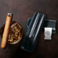 Superior Leather Holder 2 Tube Travel Cigar Case Humidor With Cutter Portable