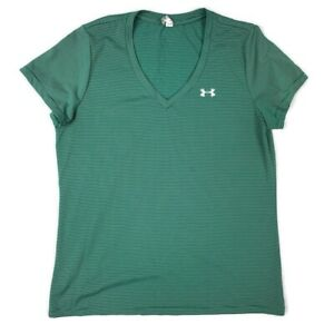 Under Armour Womens Tech Twist V-Neck Shirt Size L Green Striped Athletic Top