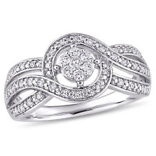 Amour 1/4 CT TW Diamond Crossover Engagement Ring in 10k White Gold