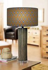 68cm Grande Scuro Bamboo Lampada da tavolo in legno con stampa giclee paralume geometrico