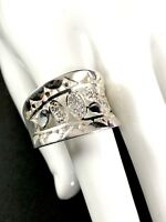 DAZZLING DESIGNER SIGNED 925 STERLING SILVER CUBIC ZIRCONIA COCKTAIL RING SIZE 8