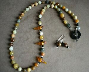 """Antique Soochow Jade with 3 Art Glass Bird Focal Beads 26"""" Necklace and Earrings"""