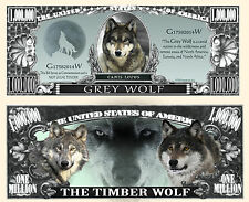 Le LOUP BILLET 1 MILLION DOLLAR US ! COLLECTION Animal Animaux Sauvage Wolf gris