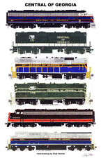 "Central of Georgia Locomotives 11""x17"" Railroad Poster by Andy Fletcher signed"