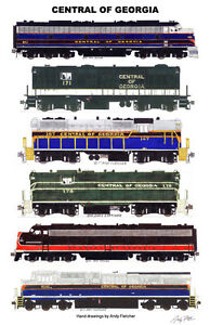 """Central of Georgia Locomotives 11""""x17"""" Railroad Poster by Andy Fletcher signed"""