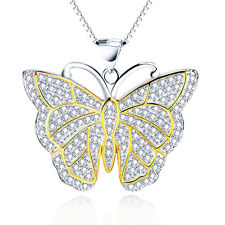 Micro Crystal Paved Shiny Butterfly Charm Pendant Necklace 925 Sterling Silver