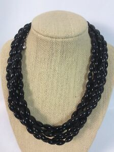 Statement Jay King DTR sterling Silver 925 Black Coral 6 Strands necklace