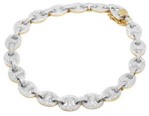 "10K Yellow Gold Iced Diamond Puff GG Marinar Anchor Link Chain Bracelet 9"" 8CT"