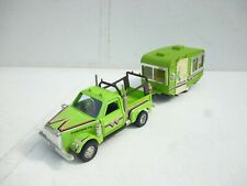 1/30 SHINSEI CHEVY CUSTOM PICK UP TRUCK WITH VINTAGE CARAVAN IN GREEN  NICE!!