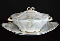 Antique 1895 Limoges Theodore Haviland Porcelaine Tureen and Platter Blue Floral