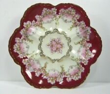 Oyster flower Plate by Imperial Crown China Austria - Red w/Gold floral