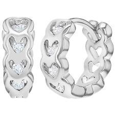 """Rhodium Plated Clear Crystal Heart Huggie Hoop Earrings for Girls 0.39"""""""