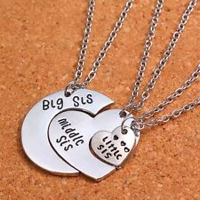 Silver Plated Big Middle Little Sister 3Pcs Set Pendant Necklace Friendship Gift