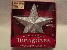 "Ksa ""Petite Treasures Mini Glittered Star Tree Top ~ Silver"" ~ New ~ Boxed"