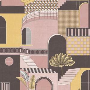 Holden Decor Medina Mediterranean Pink/Yellow Wallpaper 13102