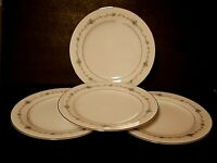 Noritake Glencoe Dinner Plates Pink Blue Flowers Green Silver Trim-Lot of 4!!