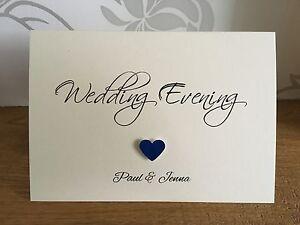 Handmade Personalised Single Heart Wedding Reception Evening Invitations