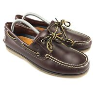 Men's Timberland Brown Leather 2-Eye Boat Shoes Size 9.5