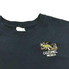 Vintage Cozumel Mexico Navy Blue Shirt Size M Adult Lizard Embroidered Yazbek T