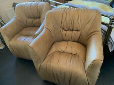 2 x Timothy Oulton. Full Rebel Warrior Leather Compact Chairs. Natural leather.