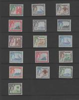 GAMBIA 1953-59 QEII  SET OF 16 (SG 171-185) MNH