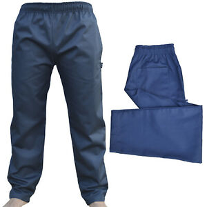 Navy Trouser Excellent Quality Elasticated Pants 3 Pockets Navy Chef Trousers UK
