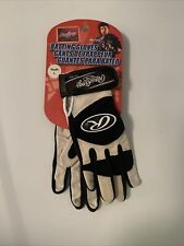 New Rawlings Youth Batting Gloves Pair Large Black 350 Series Leather Baseball