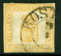 Germany 1856 Mecklenberg Schwerin 3 Sh Yellow SG #2 VFU F906 ⭐⭐⭐⭐⭐
