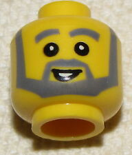 LEGO NEW MINIFIGURE HEAD WITH GREY MUSTACHE TOWN MINIFIG FACE