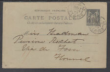 France H&G 55 used 1899 10c Peace & Commerce Postal Card to Italy, rare use