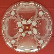 """GERMANY~WALTHERGLAS~FROSTED HEARTS & ROSES~13"""" CLEAR CRYSTAL/GLASS CAKE PLATE"""