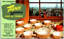 "Vintage ENCO GAS Advertising Postcard ANCHOR HOCKING ""French Casserole Set"""