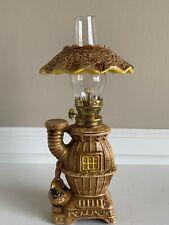 Vintage Small Porcelain Pot Belly Stove Oil Lamp 3-piece 10.5�