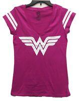 DC Comics Women's Wonder Woman Striped Licensed V-Neck T-Shirt Large Pink New