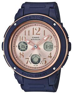 Casio Baby-G Navy+Brown Analogue/Digital Female Watch BGA150PG-2B1 BGA-150PG-2B1