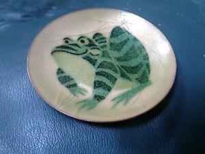 "Annemarie Davidson Copper Enamel Frog 4"" Saucer Plate Mid Century Modern"