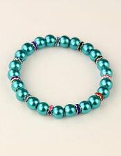 Armband Glasperlen dunkeltürkis Strass-Rondelle Glas-Wachs-Perlen NEU