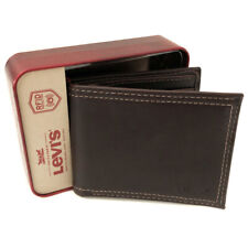 New LEVI'S Mens Brown Leather Bifold Wallet (RFID Protection) Gift Boxed