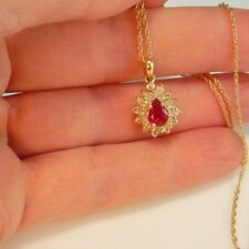 NATURAL RED RUBY Diamond Pendant Necklace Chain 14K Yellow Gold Estate Pear Cut