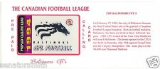 1994 CFL Baltimore Stallions Colts SPECIMEN Phone Card with envelope & card