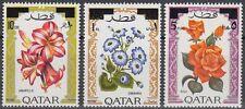 Qatar 1972 ** Mi.486/88 Freimarken Definitives Flowers Blumen Flora new ovpt.