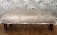 A Quality Long Footstool In Laura Ashley Emperor Dove Grey Fabric