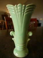 "Vtg Art Deco Vintage Seafoam Mint Green Scroll Small Vase Unmarked apx 7"" tall"