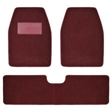 Set of 3 Car Floor Mats - 2 Front 1 Rear Liner Burgundy Carpet for Truck SUV Van