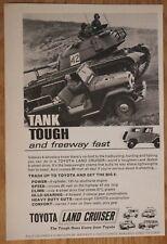 """Vintage 1965 Toyota Land Cruiser black-and-white """"Tank Tough"""" 1964 magazine ad"""
