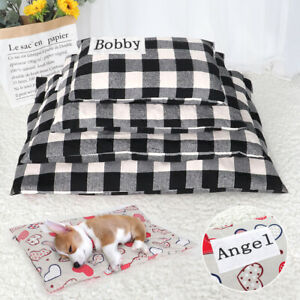 Puppy Bed Mat for Small Dogs Custom Name Dog Cat Cushion Pad for Kennel Crates