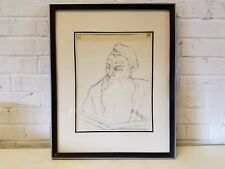 Vintage Graphite on Paper Drawing of Rabbi Reading Framed Signed Zelda Kanoff